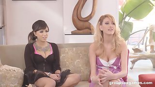 Bombshell teen beauties Samora Morgan and Addison Oriley in an orgy