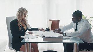 Super sexy business generalized Katie Morgan seduces black companion