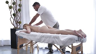 Massage makes Charlotte Sins simmering so a therapist bangs her