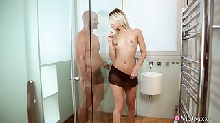 Anorexic blonde gets her dose of healthy locate at dramatize expunge shower